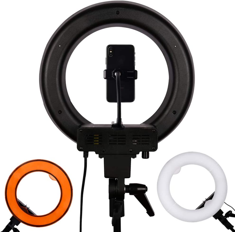 JION 14-Inch Self-Timer Ring Light with Tripod Stand and Phone Holder for Live//Makeup//Photography Mini Led Camera Ring Light Compatible with iPhone Android