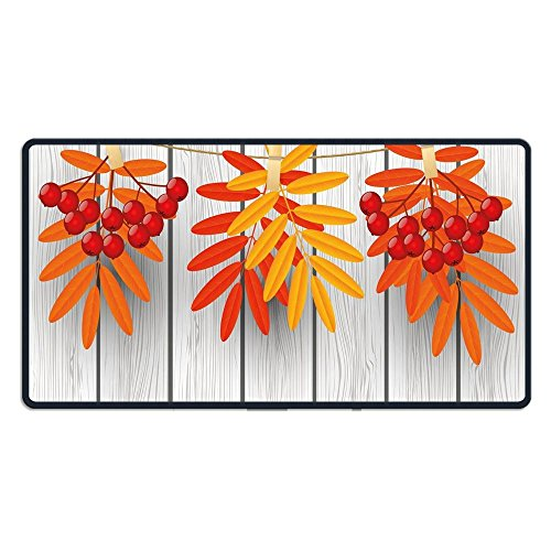 TRUSTINEE Vibrant Autumn Leaves And Red Fruits Hanged With Clothes Pin On A String(29.5×15.7×0.12 Inch) Computer Keyboard Game Mouse Pad