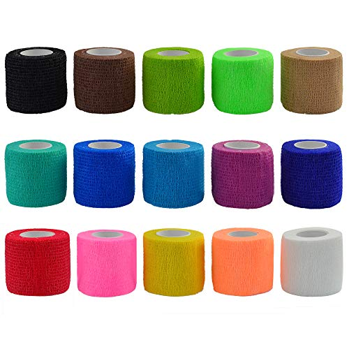 15 Pieces Adhesive Bandage Wrap Stretch Self-Adherent Tape Pressure Wrap Bandage Rolls for Sports, Wrist and Ankle(15 Colors,5 Yards*2 Inches) by Lee-buty ()