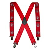 CTM Men's Elastic Fireman Print Clip-End Suspenders, Red