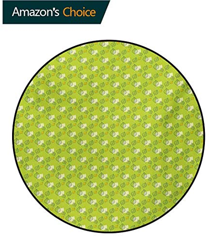 RUGSMAT Green Modern Vintage Rugs,Abstract Falling Autumn Leaf Defoliation Seasonal Nature Foliage Area Rug - Perfect for Any Place,Diameter-35 Inch Apple Green Yellow Pale Yellow