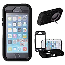 Xtra-Funky Range iPhone 5 / 5S Heavy Duty Dual Layer Silicon and Plastic Shock Absorbing Ultimate Protective Case with Built in Stand and Protective Screen layer - Black