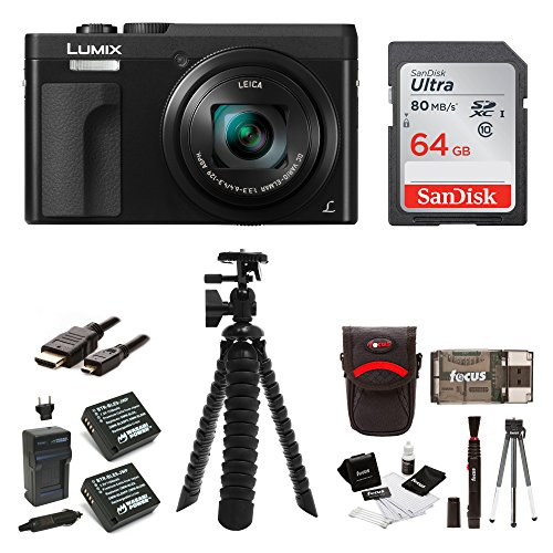 Panasonic DC-ZS70K Lumix 20.3MP, 4K Touch Enabled 3'' LCD, 180 Degree Flip-Front Display, 30x Lens 64GB Bundle by Panasonic