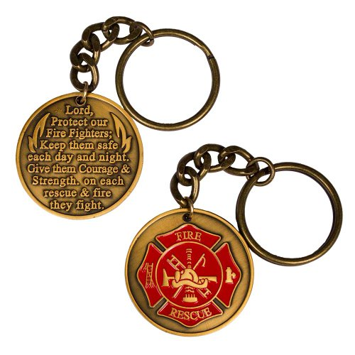 Firefighter Fireman Fire Department Prayer Key Chain Keychain Gold Cross