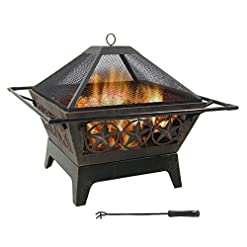 Firepits Sunnydaze Northern Galaxy Outdoor Fire Pit – 32 Inch Large Square Wood Burning Patio & Backyard Firepit for Outside with… firepits