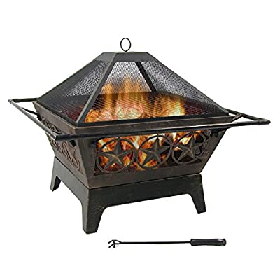 Sunnydaze Northern Galaxy Outdoor Fire Pit - 32 Inch Large Square Wood Burning Patio & Backyard Firepit for Outside with Cooking BBQ Grill Grate, Spark Screen, and Fireplace Poker - LARGE SIZE: Perfect to fit many people around for a bonfire in the patio, yard, deck, porch, lawn, or garden; Overall 32 inch square x 26 inch tall, weighs 30 pounds; Fire bowl is 25 inch square x 9.5 inch deep HEAVY DUTY AND RUST RESISTANT: Deep metal firepit is made from durable thick steel and finished with a bronze high temperature paint for heat and rust resistance; Portable function allows the fireplace to be moved anywhere and has a decorative star cutouts shapes that complements any outside style FIRE SAFETY: Fire pit set includes folding square cooking grill grate for serving food and barbecues, spark screen for added safety from flying sparks, poker tool to easily control the flame, and wood grate for better air flow - patio, fire-pits-outdoor-fireplaces, outdoor-decor - 51eMSsU9nhL. SS400  -