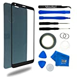Front Glass for LG G6 Series 5.7 Inch Black Display Touchscreen incl 12 pcs Tool Kit / Pre-cut Sticker / Tweezers/ Roll of 2mm Adhesive Tape / Suction Cup / Metal Wire / Microfiber cleaning cloth MMOBIEL