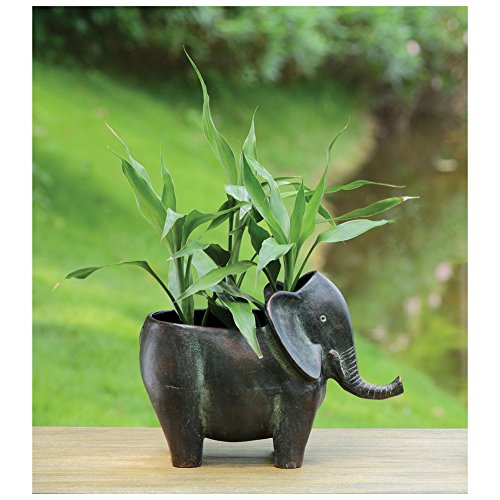 Elephant Planter Pot - Cast Aluminum With Rubbed Bronze - Aluminum Cast Urns