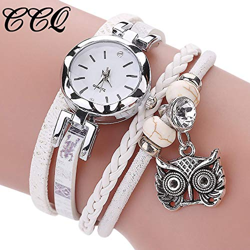 Bravetoshop Fashion Women Girls Analog Quartz Owl Pendant Ladies Dress Bracelet Watches(White)