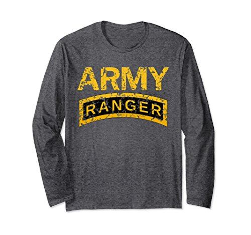 Unisex US Army Ranger Tab Faded Grunge Distress Long Sleeve T-Shirt 2XL Dark (Army Adult Long Sleeve T-shirt)