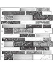 "Art3d 10-Sheet Premium Anti-Mold Peel and Stick Tile Backsplash for Kitchen, 12"" X 12"", Gray Marble"
