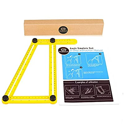 Qubeeco Angleizer Construction Precision Angle Template Tool | Lightweight, Foldable & Compact Tool With Tightening Screws | For Carpenters, Builders, DIY Projects | Measure, Make Bulls Eyes & Arches