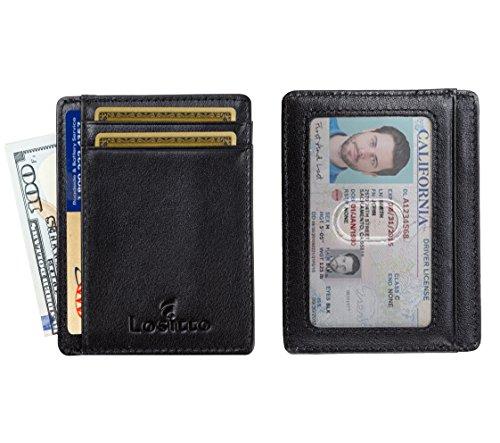 Top Grade Genuine Leather (RFID Front Pocket Wallet Minimalist Wallet Slim Wallet Top Grain Genuine Leather (Smooth Black-Grade A Nappa Leather))