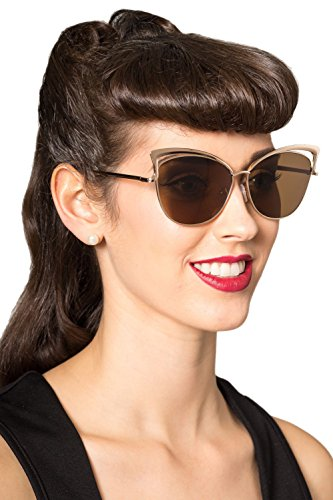 Banned Make You Mine Sunglasses - Black or Brown - Brown / One - 1940s Sunglasses