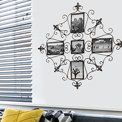 Adeco 5-Opening Metal Photo Picture Collage Frame, Antique Vintage Style, Classy Home Decor Accents