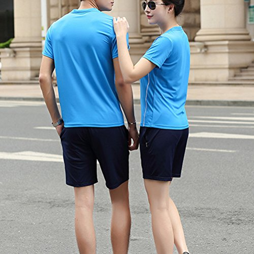 Zhhlaixing Classic Womens Short sleeves Full Sportswear Two pieces Workout Training Suit Blue