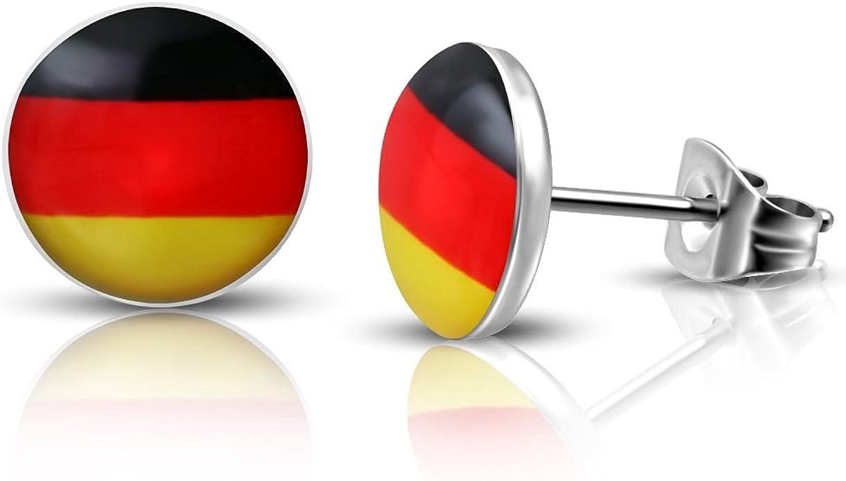 Pendientes de Bungsa con la bandera de Alemania, 10 mm, 1 par de pendientes de acero inoxidable, para hombres y mujeres, para fútbol, pendientes modernos: Amazon.es: Joyería