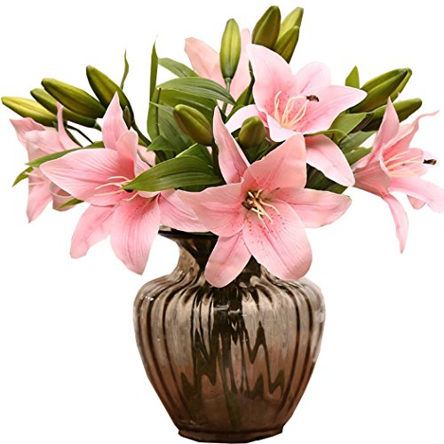 [Lily Artificial Flowers PVC Real Touch Home Bouquet Decor Flowers (10pcs/lot) (Milk Pink)] (Starter Dance Costumes For Sale)