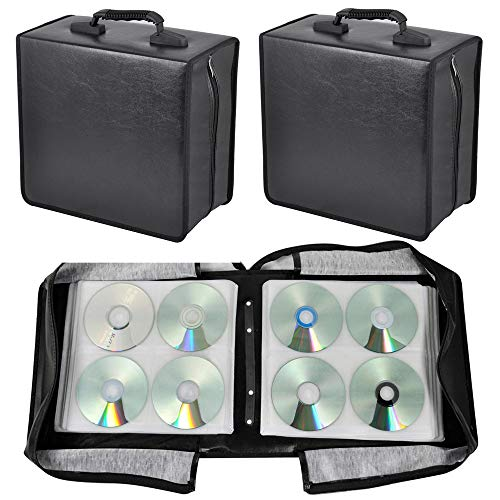 (Topeakmart 2 Set 400 Disc Heavy Duty CD DVD Binder Wallets Case with Sturdy Handle,Black)