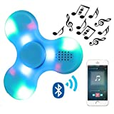 Kivors Speaker Fidget Spinner, Hand Toy with LED Light and MINI Bluetooth Speaker Fidget Toy Reducer for ADD, ADHD, Anxiety, and Autism Children Adult (Blue)