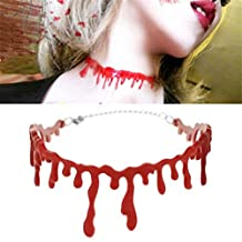 2PC Halloween Party Dress Ball Punk Rock Blood Red Stitch Choker Necklace by XILALU (Red)