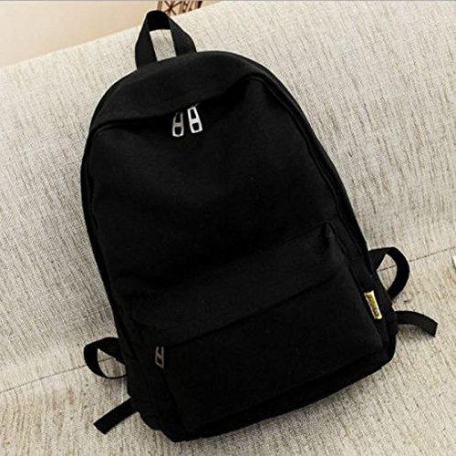 xeno-women Girl 'キャンバスショルダースクールバッグバックパック旅行カバンリュックサックハンドバッグ ブラック XE-281  ブラック B073CLFMT5