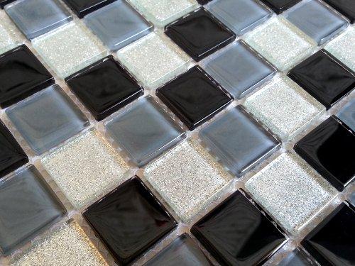 Vetro mosaico piastrelle nero grigio e argento con strass mt