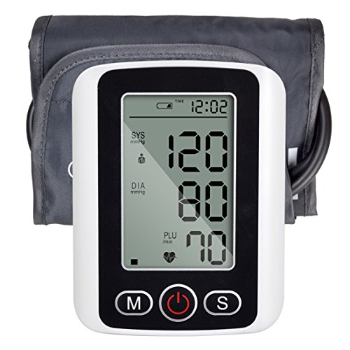 Yxbaby Digital Arm Sphygmomanometer With Backlight Blood Pressure Monitor Pulse Rate Detecting Large LCD Display Health Care Monitor Meter Black With Voice Broadcast Or No Broadcast,Voicebroadcast