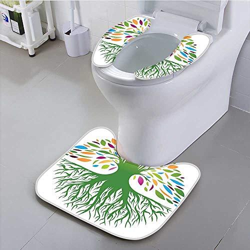 aolankaili Universal Toilet seat Life Decor Illustration of Multi Colored Round Abstract Tree Life and Soul Symbol Cushion (Multi Colored Slim Cd)