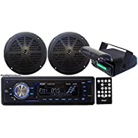 In-Dash Marine AM/FM Radio USB SD Aux-In for iPod/MP3 Stereo Player Receiver + 2 x 5.25 Speakers + Stereo Housing w/Full Chassis Wired Casing & Remote