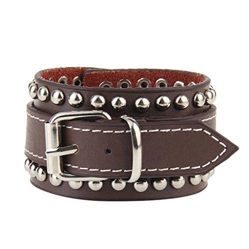 Jenia Rock Punk Leather Cuff Bracelet Wrap Bracelets Leather Wristbands Adjustable Gothic Spike Bracelet for Men, Boy, ()
