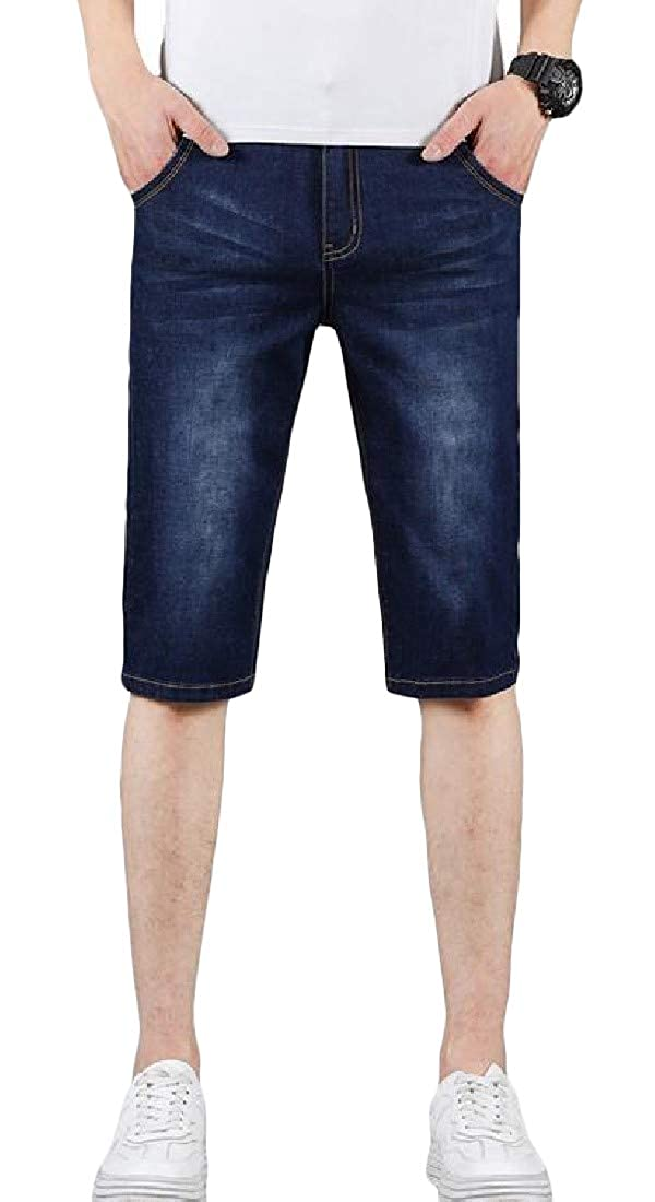 Lutratocro Mens Casual Washed Denim Jean Summer Straight Leg Short