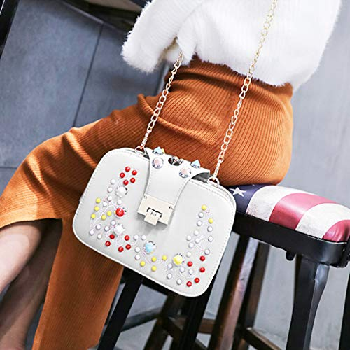 Bags Single Crossbody Women PU shoulder Flower Buckle Tote White Bag Closure Handbag Arichtop Fashion Decor Girl A1R1wq6