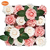 TOPHOUSE 60pcs Artificial Flowers Roses Real Touch Fake Roses for DIY Wedding Bouquets Bridal Shower Party Home Decorations (Ivory&Pink)