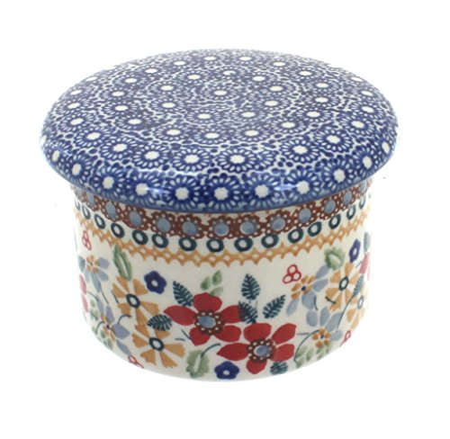 Blue Rose Polish Pottery Red Daisy French Butter Dish (Blue Rose Pottery Butter Dish)