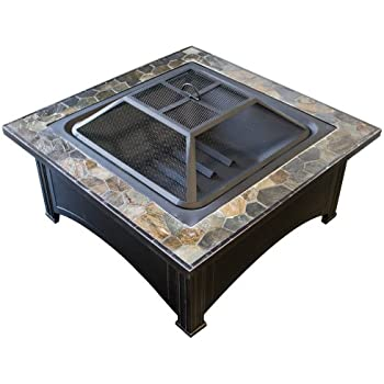 AZ Patio Heaters Fire Pit with Square Table, Wood Burning