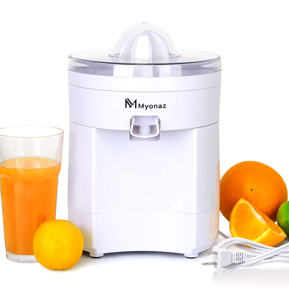 MYONAZ 500ML Electric Citrus Squeezer Manual for Fresh Lemon Orange Juice Hand Squeezers with Anti-drip (White)