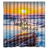 Lawrence Waterproof Bathroom Fabric Shower Curtain With Rings Sunset Sea Ocean Beach With Live Laugh Love Quotes Print Design 66x72 inch