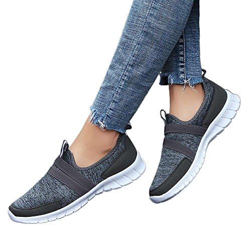 Mujer pies Calzado Calzado QUICKLYLY Suave de para Gris Oscuro Redondo Casual Deportivo la Calcetero para Perezoso Deportivo Zapatos Cabeza EqqR0