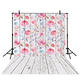 Funnytree Photography Background 5X7ft Polyester Watercolor Floral Wooden Backdrop Collapsible and Washable Studio Photo Props for Photography(Upgrade material)