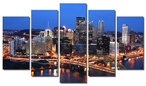 (Picture Sensations Framed 5-Panel Canvas Art Print, Pittsburgh Bridge City Skyline-60, 5 Panel-60 X36)