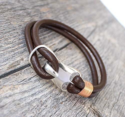 Rugged Vintage Bracelet Genuine Brown Leather Copper Wire Wrap Alloy Hook Clasp Durable Stylish Handmade Ezina Designs
