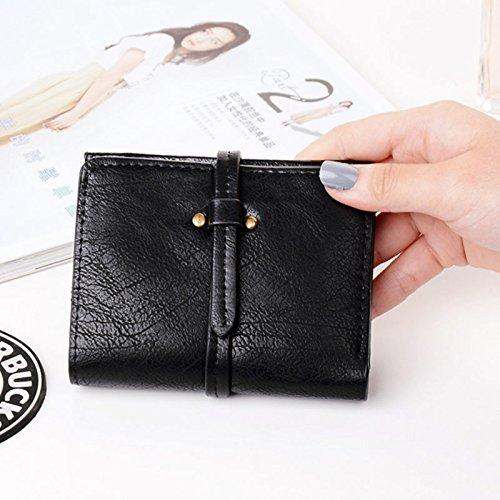 Espeedy Moda Mujeres Mini Purse Cuero De Color Sólido Damas Niñas Cartera De Vintage Bolso De Embrague Bolso Pequeño Bolsas negro