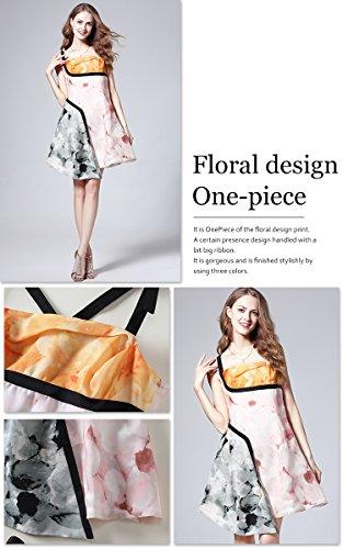 (a la mode) アラモード 大人 エレガント 高級 花柄 プリント Aライン アシンメトリー ワンピース チュニック レディース ドレス お呼ばれ 108004