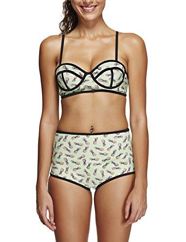 Fiebre de primavera vintage para mujer Push Up Padded Bikini Talle Alto Traje De Baño Piña