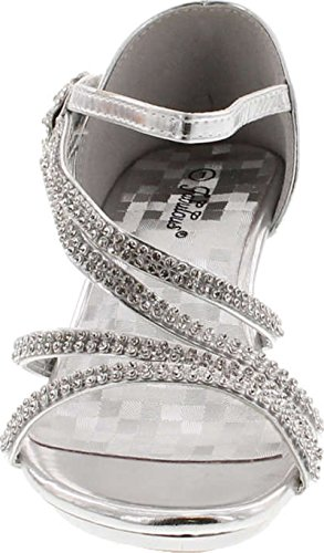 Picture of Forever Glamour-28 Kids Rhinestone Flower Sparkling Bling Heel Designed Dress Sandals,Silver/Silver,2