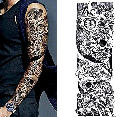 Dia De Los Muertos Sugar Skull Roses Temporary Tattoo Scar