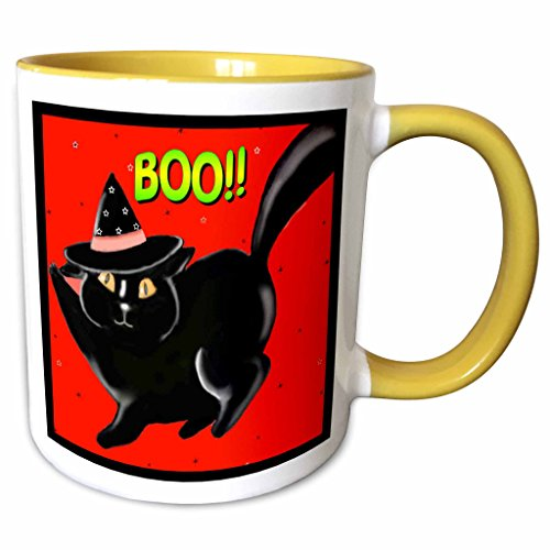 3dRose Dawn Gagnon Photography Halloween Designs - Halloween Black Boo Kitty Red, Cute little Halloween kitten with red background and black border - 15oz Two-Tone Yellow Mug (mug_153698_13)