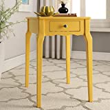 INSPIRE Q Daniella 1-Drawer Wood Storage Accent Classically Styled Yellow Side Table Made in Rubberwood and Birch Veneer For Sale