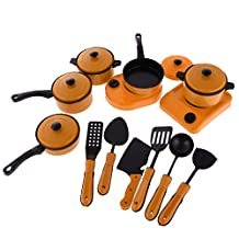 MonkeyJack School Supplies 13Pcs/Set Children Kitchen Toys Set Classic Toys Cooking Tools Kids Pretend Play Simulation Baby Kids Educational Role Play Toys Yellow